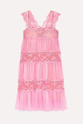 Christopher Kane Gathered Lace-paneled Tulle Midi Dress - Pink