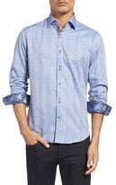 Stone Rose Men's Dobby Stripe Sport Shirt