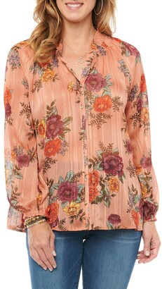 Wit & Wisdom Floral Button-Up Chiffon Top