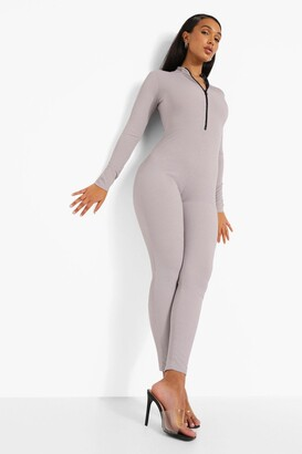 boohoo Rib Zip Down Jumpsuit