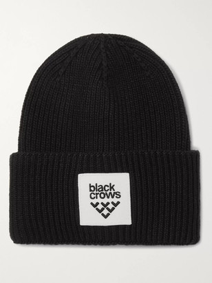 Black Crows Mori Logo-Appliqued Ribbed-Knit Beanie
