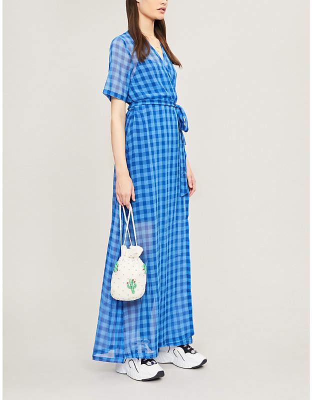 Samsoe & Samsoe Mante gingham crepe maxi dress