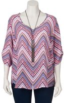 Juniors' Plus Size HeartSoul Chevron Top & Necklace Set