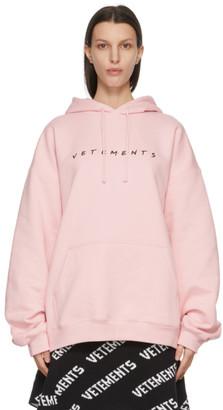 Vetements Pink Friendly Logo Hoodie