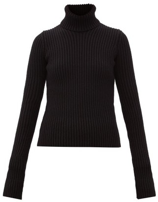 Bottega Veneta Roll-neck Rib-knitted Wool-blend Sweater - Black