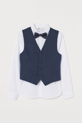 H&M Shirt with Vest and Bow Tie - White