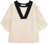 See by Chloe Grosgrain-paneled macramé lace top