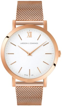 Larsson & Jennings LJXII Lugano Milanese 33mm Rose Gold Satin-White