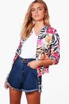 boohoo Katie Floral Printed Bomber pink