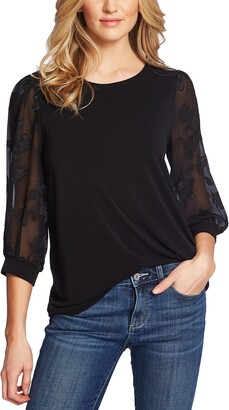 CeCe Lace Sleeve Stretch Crepe Blouse
