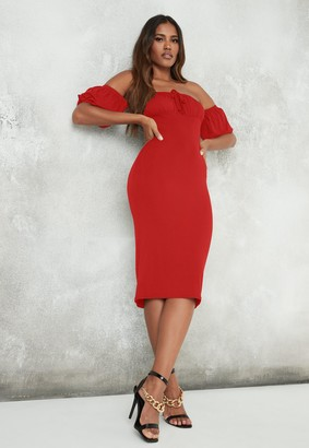Missguided Red Puff Sleeve Ruched Bardot Midi Dress