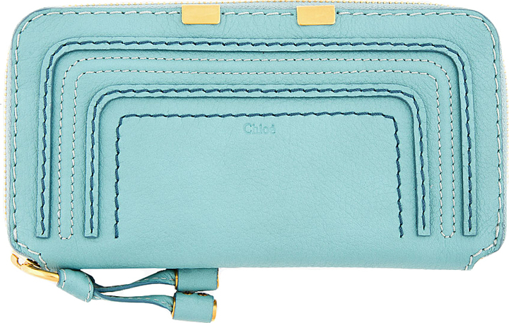 Chloé Mint Green Textured Calfskin Marcie Wallet