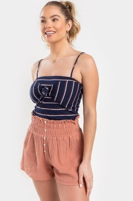 francesca's Trista Striped Front Knot Tank Top - Navy