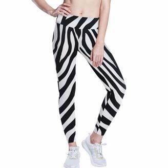 Linomo Women's High Waist Yoga Pants Animal Zebra Print Workout Running Pants Yoga Leggings for Women