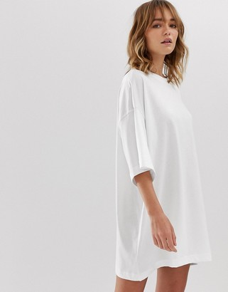 Weekday Huge t-shirt dress in white