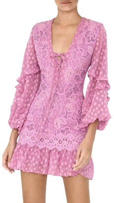 Alexis Malicha Mixed Lace Long-Sleeve Mini Dress
