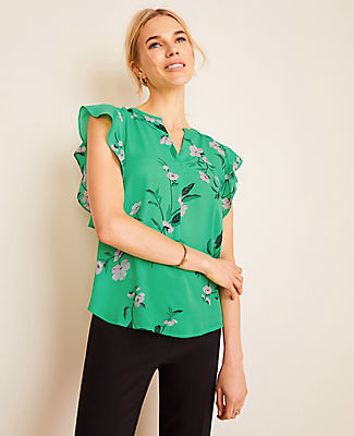 Ann Taylor Floral Mixed Media Flutter Sleeve Shell Top
