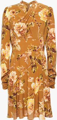 Zimmermann Draped Floral-print Stretch-silk Mini Dress