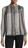 Giambattista Valli Striped Band-Collar Blouse, White/Multi