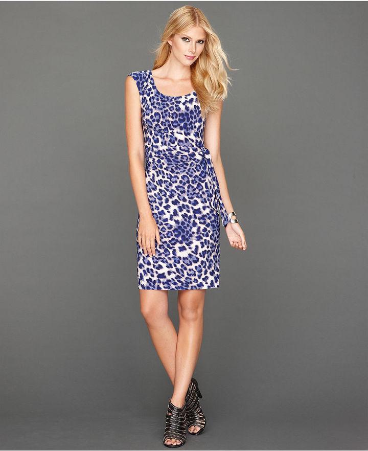 INC International Concepts Dress, Sleeveless Side-Tie Animal-Print