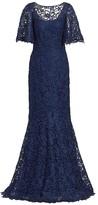 Teri Jon By Rickie Freeman Lace Flutter-Sleeve Gown