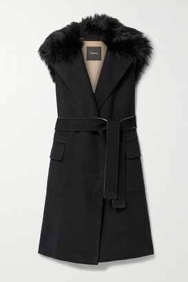 Theory Belted Faux Fur-trimmed Wool And Cashmere-blend Vest - Black