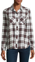Soft Joie Lilya Plaid Flannel Shirt, White/Red