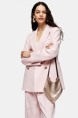 Topshop Womens Pink Marl Six Button Double Breasted Suit Blazer - Pale Pink