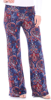 Brooke & Emma Women's Casual Pants ST47 - Navy & Red Floral Palazzo Pants - Women & Plus