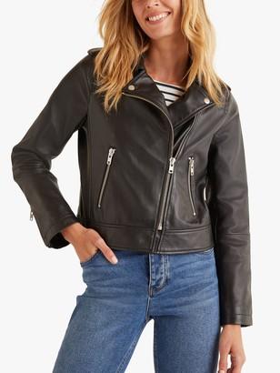 Boden Morleigh Leather Jacket, Black