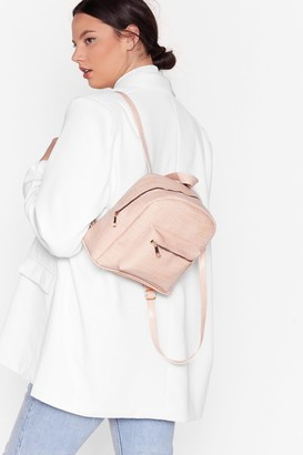 Nasty Gal Womens WANT Don't Ever Croc Faux Leather Backpack - Pink - One Size