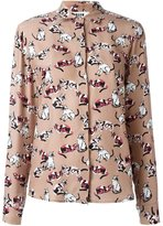 MSGM cat print shirt - women - Silk/Cotton - 46