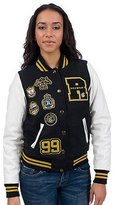 Rocawear Olro54H Black/White Women Varsity Winter Jacket Size: