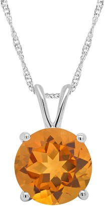 14K Gold 1.60 cttw Round Citrine Pendant with Chain