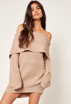 Missguided Nude Chunky Bardot Mini Dress