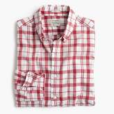 J.Crew Tall Secret Wash shirt in heather poplin red-and-white plaid
