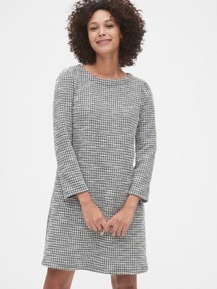 Gap Houndstooth Tweed Zip Pocket Puff-Sleeve Dress