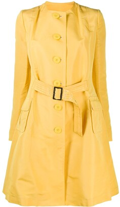 John Galliano Pre-Owned Collarless Flared Belted Coat