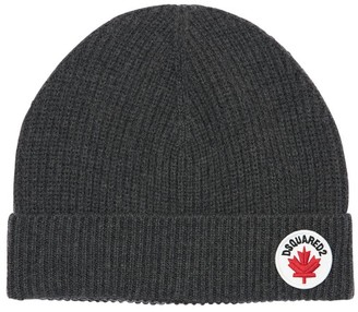 DSQUARED2 Cotton & Wool Knit Hat W/ Logo Patch