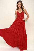Olivaceous Snowy Meadow Crocheted Red Maxi Dress