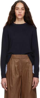 Tibi Navy Zip Back Pullover