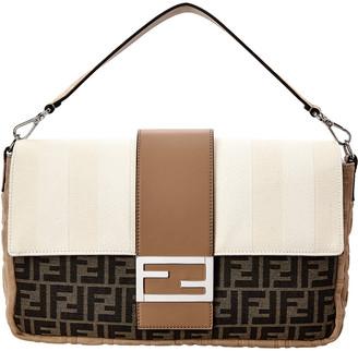 Fendi Baguette Large Leather & Suede Shoulder Bag