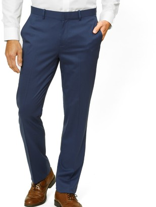 The Tie Bar Bright Navy Solid Wool Pants