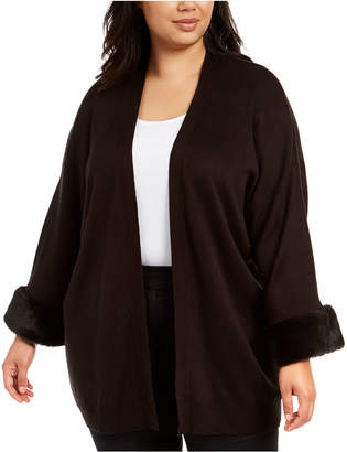 Calvin Klein Plus Size Faux-Fur-Cuff Open-Front Cardigan