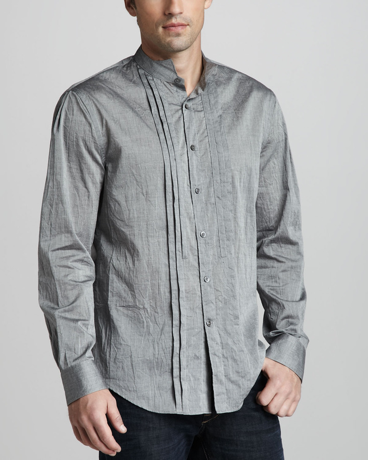 John Varvatos Slim-Fit Pleated Shirt