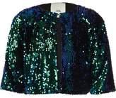 River Island Girls Green metallic ombre sequin cape jacket