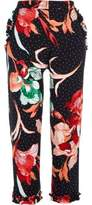 River Island Womens Black polka dot floral cigarette pants