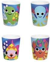French Bull Kids 6 oz. Melamine Juice Cup, Set of 4, Ocean