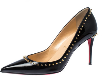 Christian Louboutin Black Patent Leather Anjalina Spike Trim Pointed Toe Pumps Size 37