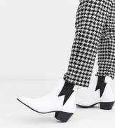 Asos Design DESIGN Wide Fit cuban heel western chelsea boots in white leather with lightning detail